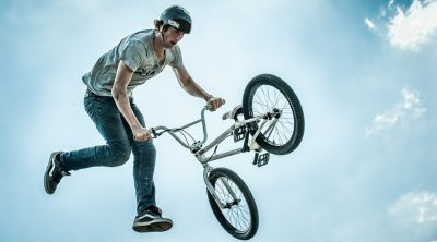 A man jumping with a BMX bike