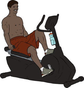 Man riding an exercise bike in the gym